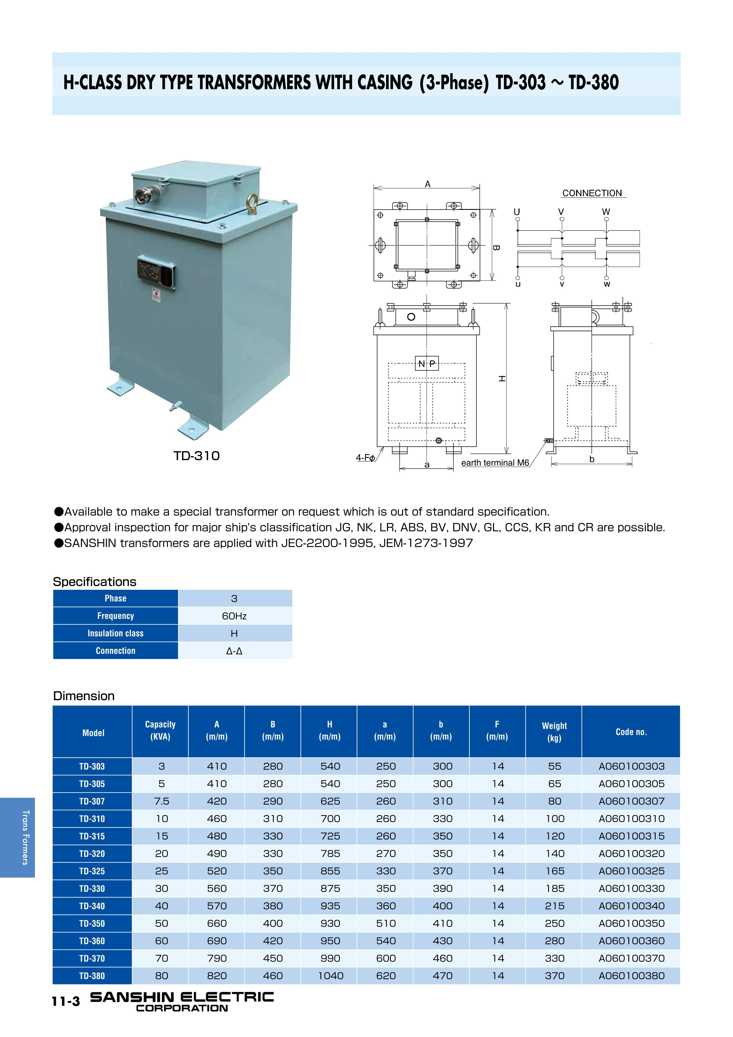Trans Formers Product List Sanshin Electric Corporation Dry Type Transformer Wiring Diagram H Class Transformers With Casing