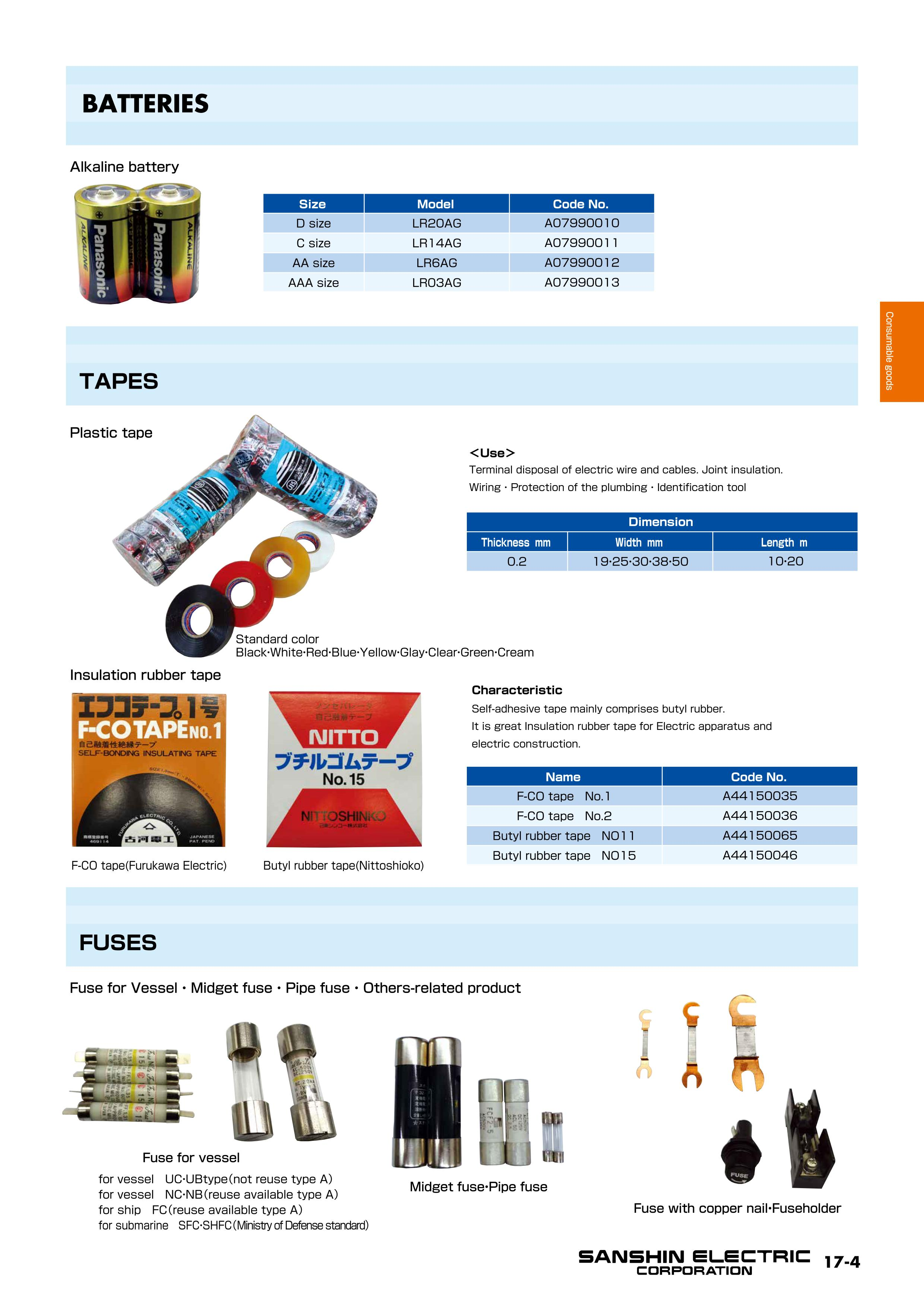 Consumable Goods Product List Sanshin Electric Corporation